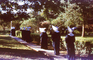 Nuns walking down a garden path.